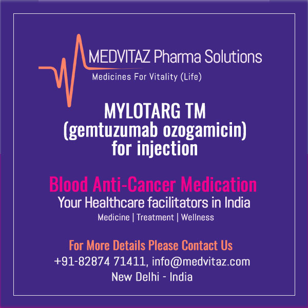 MYLOTARG (gemtuzumab ozogamicin) for injection, for intravenous use. Initial U.S. Approval: 2000