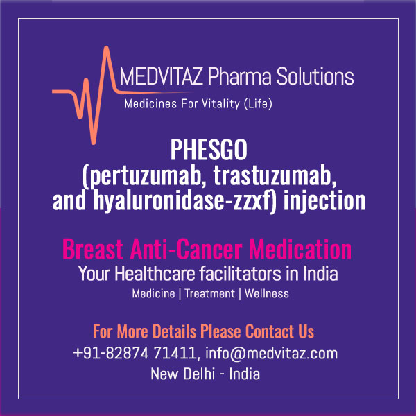 PHESGO (pertuzumab, trastuzumab, and hyaluronidase-zzxf) injection, for subcutaneous use Initial U.S. Approval: 2020