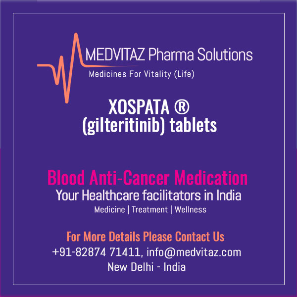XOSPATA (gilteritinib) tablets, for oral use. Initial U.S. Approval: 2018