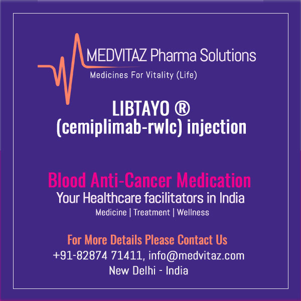 LIBTAYO (cemiplimab-rwlc) injection, for intravenous use. Initial U.S. Approval: 09/2018