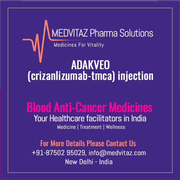 ADAKVEO (crizanlizumab-tmca) injection, for intravenous use. Initial U.S. Approval: 2019