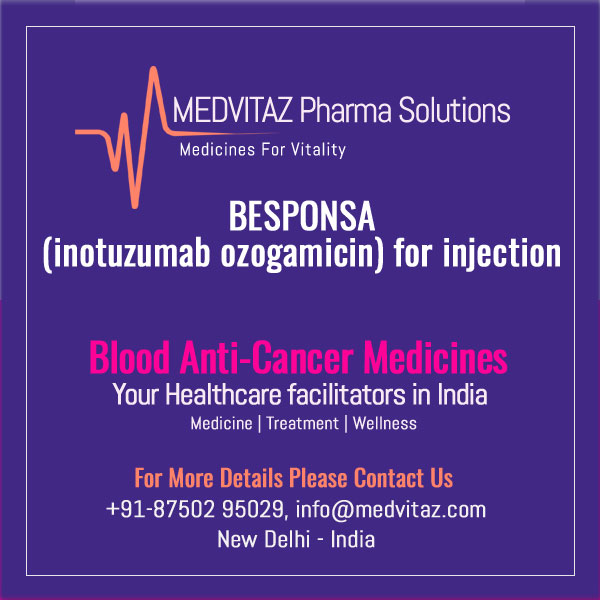 BESPONSA (inotuzumab ozogamicin) for injection, for intravenous use. Initial U.S. Approval: 2017